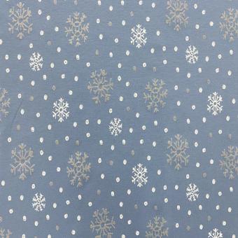 SWEAT Druck Schneeflocke bleu-silber-weiß    2m vorrätig