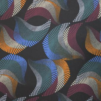 Jersey Druck Spirale schwarz-blau-grün-weinrot