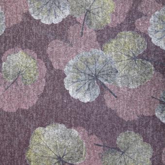 Melange-Jersey Blätter weinrot