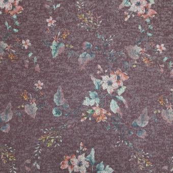 Melange-Jersey Blumen weinrot