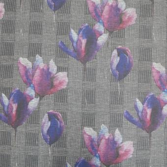 Romanit-Jersey Glencheck mit Blumen grau-fuchsia-lila