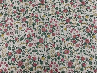 Leinendruck 140cm Blumendruck rose-grün