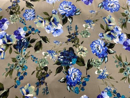 Satin-Stretch khaki mit Blumen blau nur solange Vorrat reicht!
