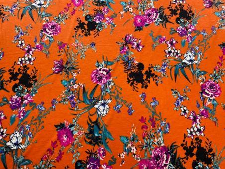 Viskose-Jersey floral orange nur solange Vorrat reicht!