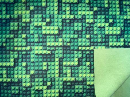 Softshell Druck Bausteine 3D Grün