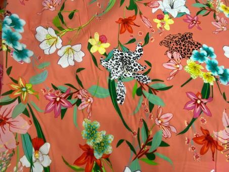 floraler Batistdruck orange-bunt nur solange Vorrat reicht!!