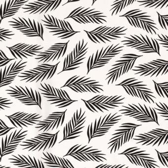 Viskose Druck Blätter weiß-schwarz noch 5,8m vorrätig