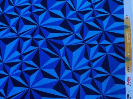 French Terry 3D blau Stoffhändler mit HERZ