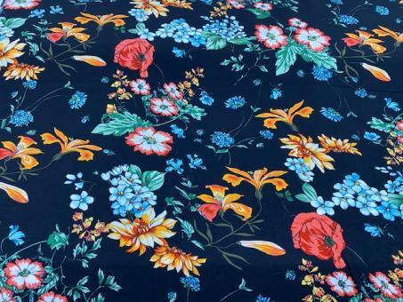 Viskose Druck Blumen schwarz-bunt nur solange Vorrat reicht!!