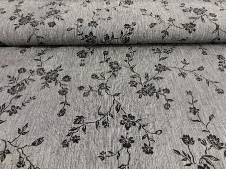 Leinendruck Blumen  schwarz-grau nur solange Vorrat reicht!