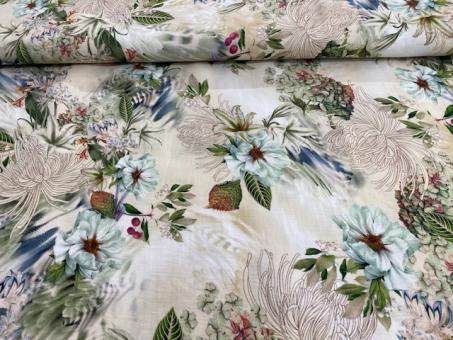 Leinendruck floral ecru-khaki Ausverkauft