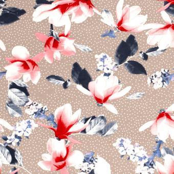 Viskosejersey Blumen sand-blau-rot nur solange Vorrat reicht!