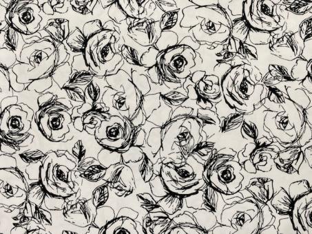 Satinstretch mit Rosendruck weiß nur solange Vorrat reicht!!