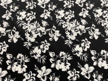 floraler Satinstretch schwarz-weiß nur solange Vorrat reicht!!